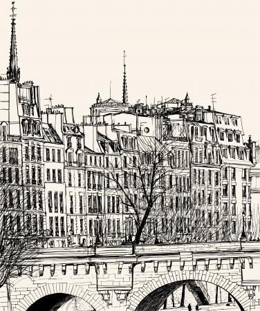 pont: Illustration of an hand drawing representing the Pont Neuf in Paris Illustration