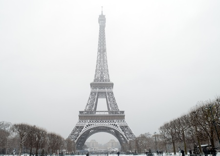 France - Paris - The eiffel tower under falling snow
