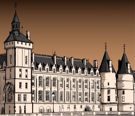 quay: France - Paris - The castle of  Conciergerie Illustration