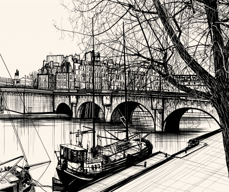 river bank: Illustration of Paris- Ile de la Cite - Pont neuf (hand drawing)