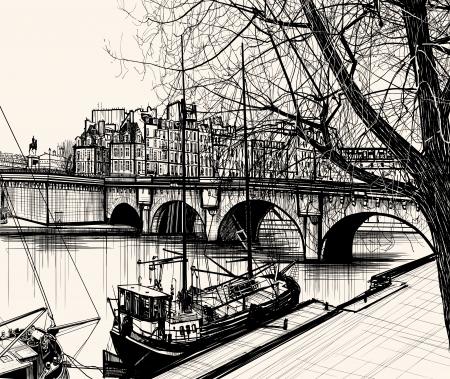 Illustration of Paris- Ile de la Cite - Pont neuf (hand drawing)