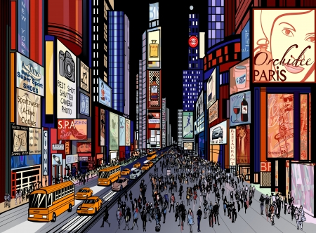 Illustration of a night view of times square in New York (all ads are imaginary)