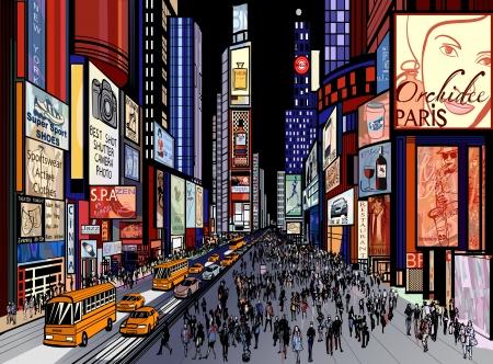 new york times square: Ilustraci�n de una vista nocturna de Times Square en Nueva York (todos los anuncios son imaginarios)