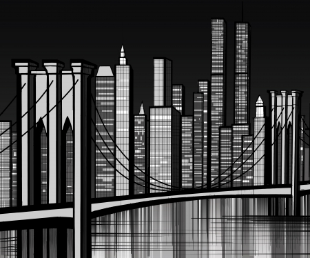 Manhattan Skyline: Vector illustration of Brooklyn bridge in New York