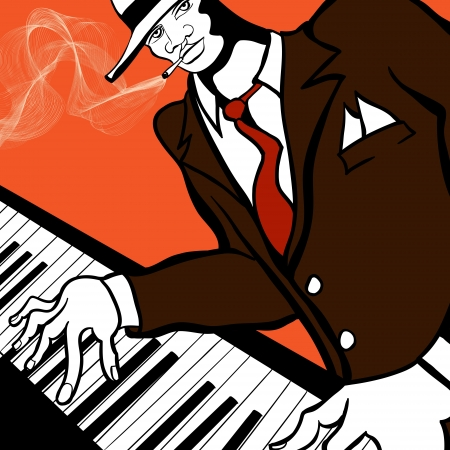 orchestral: Vector illustration of a Jazz piano player