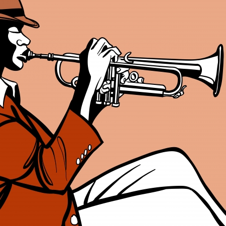 the blues: Vector illustration of a trumpet player
