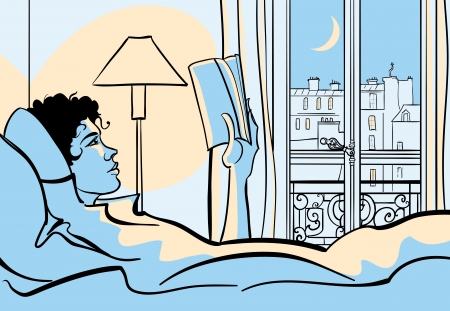 illustration of a woman reading in bed  Stock Illustration - 20450208
