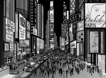times square: illustration of a night view of times square in New York (all ads are imaginary)