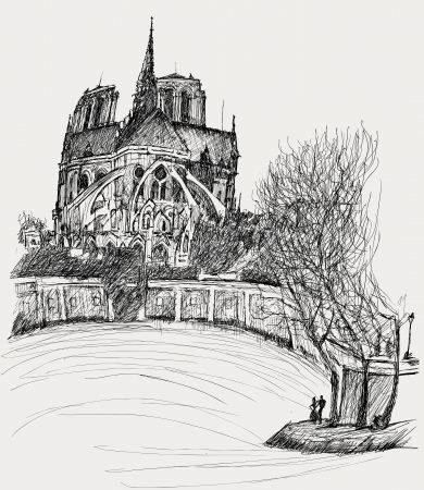 illustration of Notre dame in Paris Vector