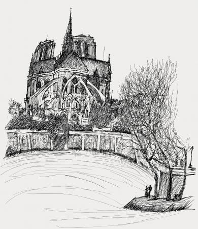 notre: illustration of Notre dame in Paris