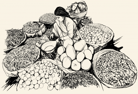 India -  illustration of a woman selling fruit and vegetable in a market Illustration