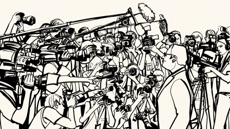 public:  illustration of a press conference