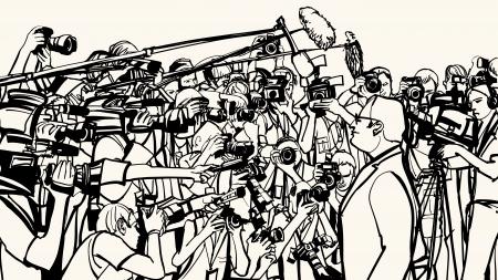 rueda de prensa: ilustraci�n de una rueda de prensa Vectores
