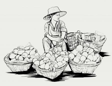 street vendor: illustration of a fruit street vendor in Bangkok Thailand Illustration