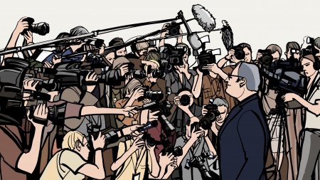journalist:  illustration of a press conference