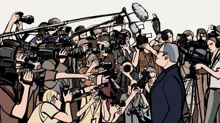 reportero: ilustración de una rueda de prensa Vectores