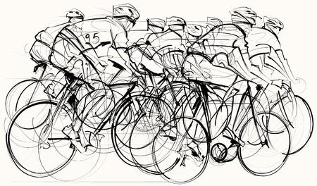 競争のサイクリストのグループの図