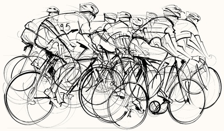 illustration of a group of cyclists in competition Illustration