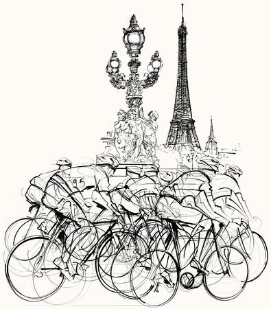 radfahren: Illustration einer Gruppe von Radfahrern im Wettbewerb in Paris