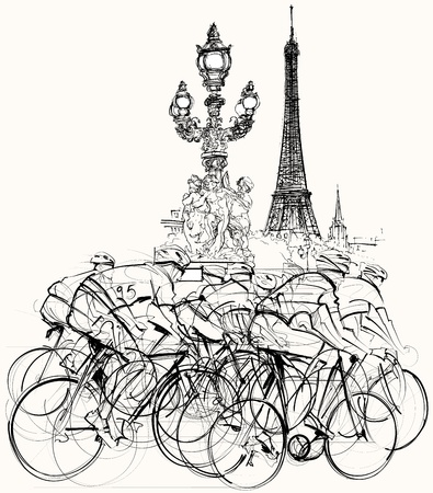 illustration of a group of cyclists in competition in Paris