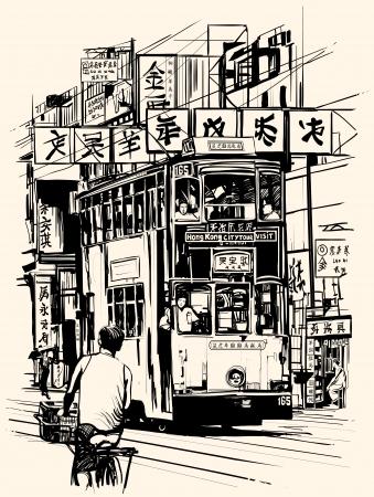 tramway: illustrazione di una strada a Hong Kong con un tram Tutti i testi, caratteri cinesi, add sono fittizi