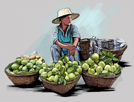 vendors:  illustration of a fruit street vendor in Bangkok Thailand