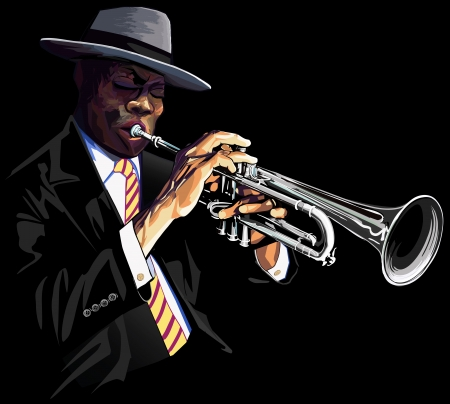 the blues: illustration of a trumpet player Illustration