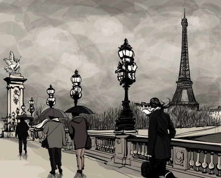 Drawing of a view of Alexander III bridge in Paris showing Eiffel tower  Nightfall  on a rainy autumn-winter day  Vector