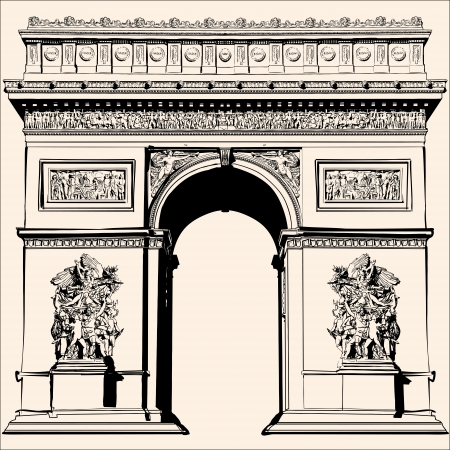 arch: France - Very detailed representation of an Hand drawing Illustration