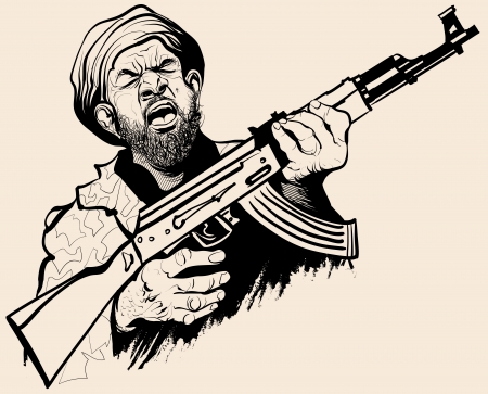 violent: Caricature of a terrorist - illustration Illustration