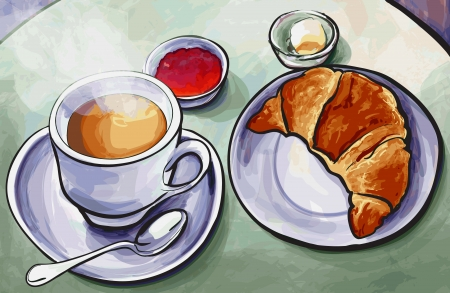 Fresh french breakfast with coffee espresso and croissant in watercolor - illustration Vector