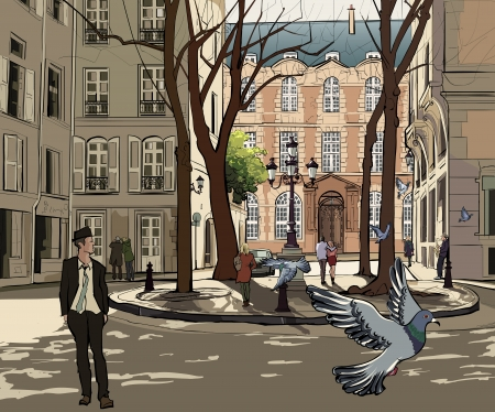old street: Vector illustration of Furstemberg square in paris