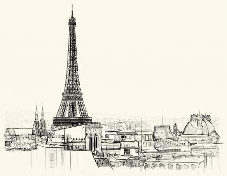 Illustrazione vettoriale di torre Eiffel sui tetti di Parigi