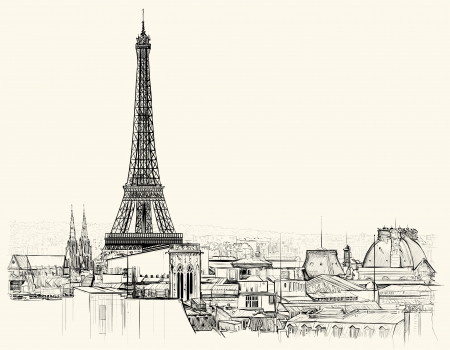 Vector illustration of Eiffel tower over roofs of Paris Çizim