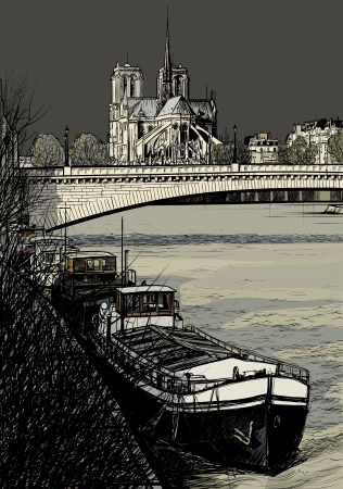 river bank: Vector illustration of Paris- Seine River with barges - Ile de la Cite and Notre-Dame (hand drawing)