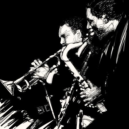 ジャズの真鍮の音楽家のベクトル イラスト