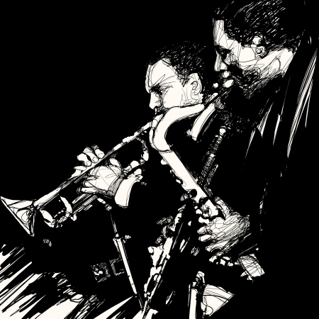 Vector illustration of jazz brass musician Vector