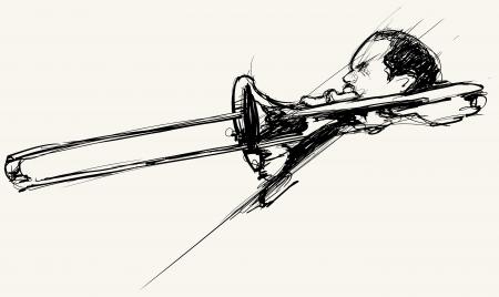 trombon: Ilustración vectorial de un trombonista