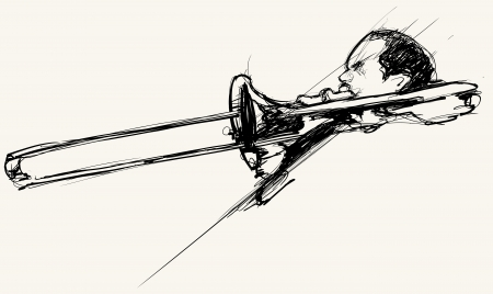 jamming: Vector illustration of a trombone player