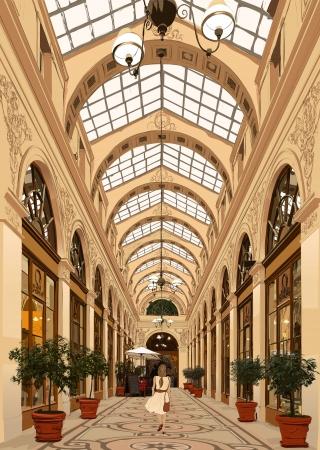 통로: 이전 통로 파리에서 산책하는 여자 - 벡터 일러스트 레이 션