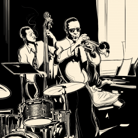 tenore: Illustrazione vettoriale di una band jazz con contrabbasso - tromba-pianoforte e tamburo Vettoriali