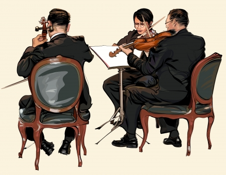double bass: Three musicians of classic orchestra - violin and double bass - vector illustration