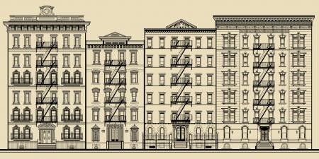 古い建物およびニューヨーク - 完全に架空のベクトル図のファサード  イラスト・ベクター素材
