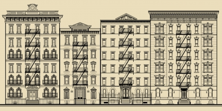 old street: Old building and facades of new york - totaly fictitious vector illustration
