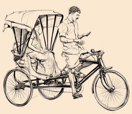 an indian: Vector illustration of an indian rickshaw