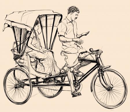 Vector illustration of an indian rickshaw