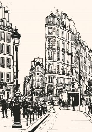 Vector illustration of old Paris near Saint Denis Illustration