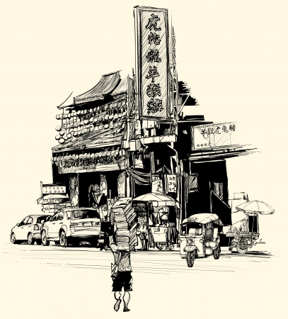 street vendor: Vector illustration - view of chinatown in Bangkok (all chinese characters are fictitious)
