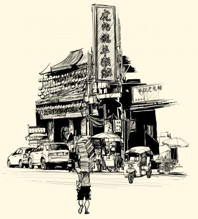 chinesisch essen: Vektor-Illustration - Ansicht von Chinatown in Bangkok (alle chinesischen Schriftzeichen sind frei erfunden)