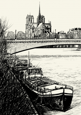 ile de la cite: Vector illustration of Paris- Seine River with barges - Ile de la Cite and Notre-Dame (hand drawing)